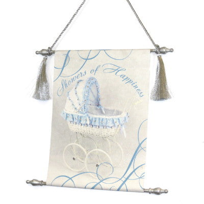 Dalmazio Design Canvas Keepsake Scroll - Showers of Happiness Blue Carriage