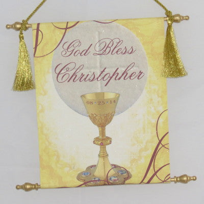 Canvas Keepsake Scroll - God Bless Chalice w/ Personalization