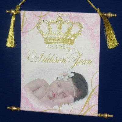 Canvas Keepsake Scroll - God Bless Crown Personalized w/ Photo