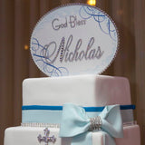 Cake Topper Swarovski Plaque - Oval Horizontal Soft Edge Flourishes God Bless w/ Personalization