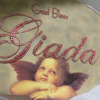 Dalmazio Design Keepsake Swarovski Plaque - God Bless Florentine Angel Motif w/ Personalization