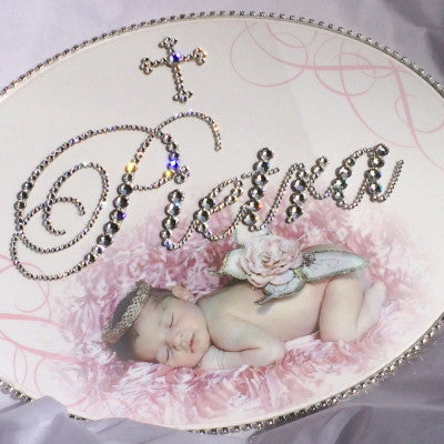 Keepsake Swarovski Plaque - Cross Motif w/ Custom Baby Photo and Personalization