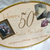 Keepsake Plaque - Custom Anniversary w/ Pictures Colored Crystal