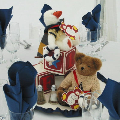 Dalmazio Design Teddy Bear & Wooden Block Breakaway Centerpiece