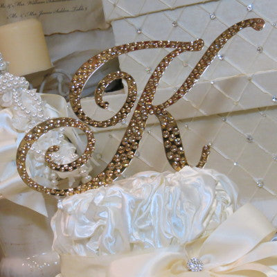 "Cake Topper Swarovski Initial- 6"" Tall Custom Font Colored Metal & Crystal"