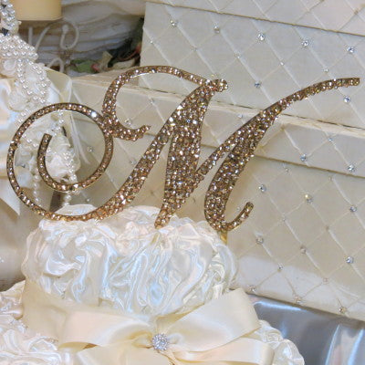 "Cake Topper Swarovski Initial- 6"" Tall Custom Font Colored Metal & Mixed Crystal"