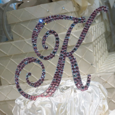 "Cake Topper Swarovski Initial- 6"" Tall Custom Font Clear & Colored Crystal"