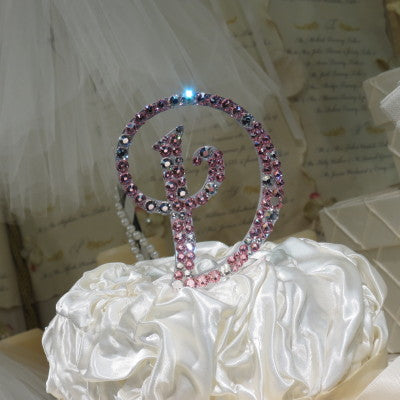 "Cake Topper Swarovski Initial- 4"" Tall Custom Font Clear & Colored Crystal"
