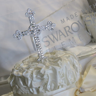 "Cake Topper Swarovski Cross- 6"" Tall Clear Crystal"