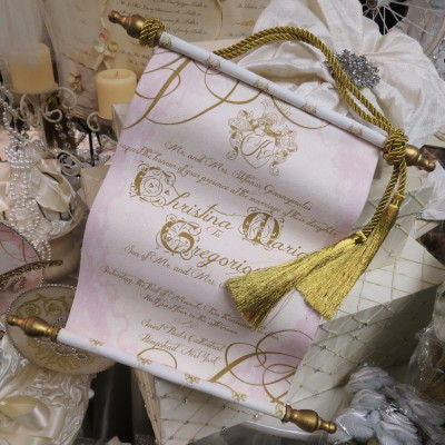 Dalmazio Design Tela Di Scorrimento Invitation Large Cording and Tassel