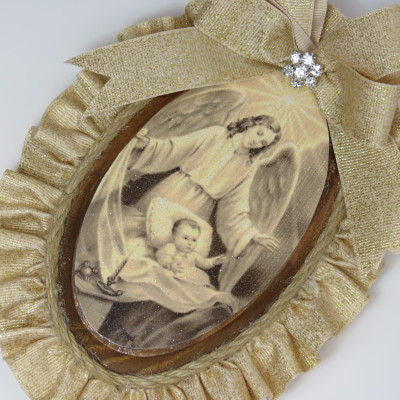 Dalmazio Design Keepsake Wooden Plaque- Capezzale Guardian Angel Gold
