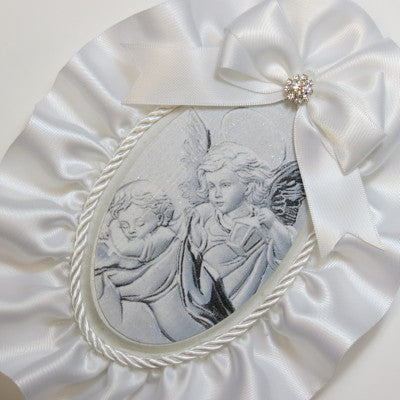 Dalmazio Design Keepsake Wooden Plaque- Capezzale Guardian Angel White