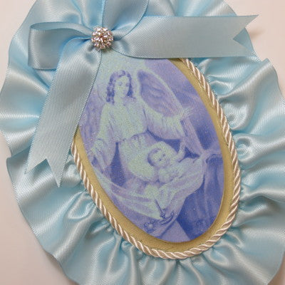 Keepsake Wooden Plaque- Capezzale Guardian Angel Baby Blue