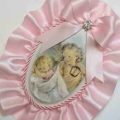 Dalmazio Design Keepsake Wooden Plaque- Capezzale Guardian Angel Baby Pink
