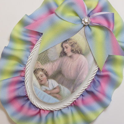 Dalmazio Design Keepsake Wooden Plaque- Capezzale Guardian Angel Rainbow
