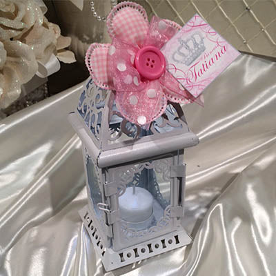 Lantern with Confetti Ribbon Flower