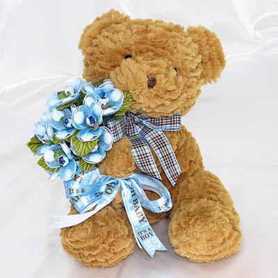 Birth Announcement Bear with Confetti Flowers