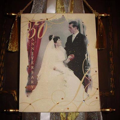 Canvas Keepsake Scroll - 50th Anniversary Personalized w/ Photo