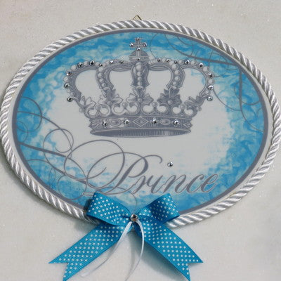 Keepsake Porcelain Plaque- Prince Blue Accent 8x10""