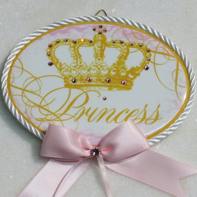 Keepsake Porcelain Plaque- Princess Baby Pink Accent 8x10""