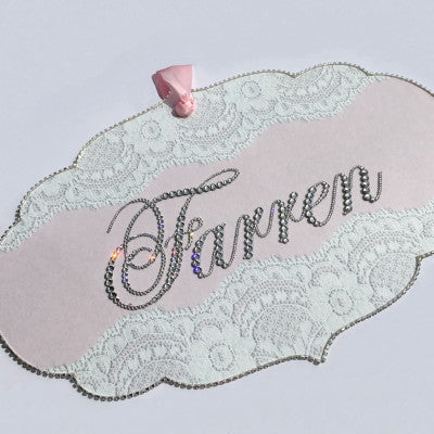 Keepsake Swarovski Plaque - Bracket Shape Lace Ribbon & Personalization