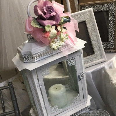 Large Lantern with Flower Accent Centerpiece/Decor