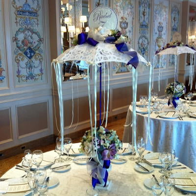 Lace Umbrella, Ceramic Planter and Glittered Rose Centerpiece Rental