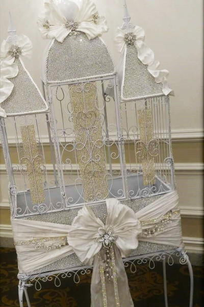 Crystal and Silk Adorned Birdcage