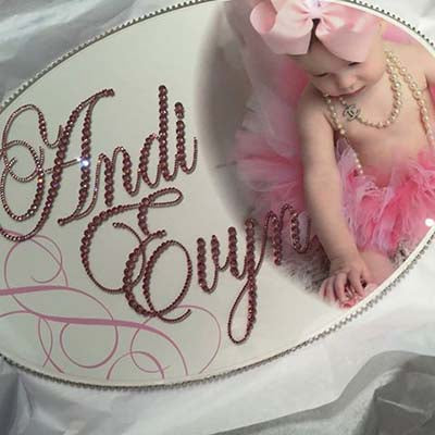 Dalmazio Design Keepsake Swarovski Plaque - Custom Baby Photo Centered Right w/ Personalization
