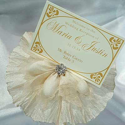 CRF Picasso Rhinestone Accent with Pleated Ruffle + Personalized Escort Card