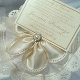 CRF Margherita Satin Pearl + Rhinestone Accent with Velo Ruffle + Personalized Donation Card