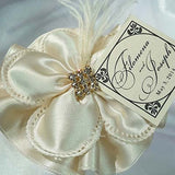 CRF Margherita Satin Rhinestone Square with Satin Ruffle + Personalized Card