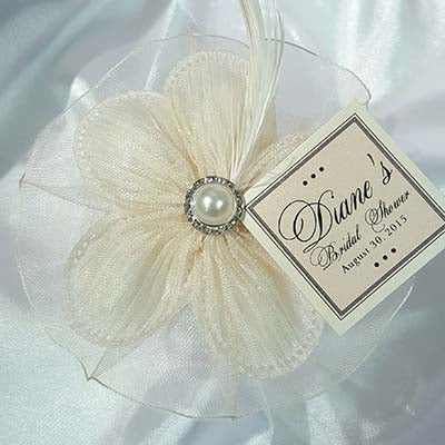 CRF Margherita Plisse Large Pearl + Rhinestone Accent with Organza Ruffle, Feather + Personalized Card