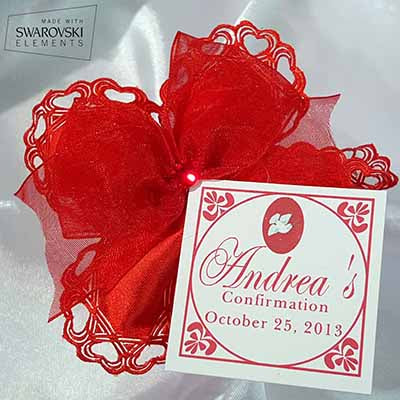 CRF Cuore Crystal with Wired Organza Ribbon Bow + Personalized Card