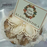 CRF Ariel Crystal with Double Lace and Burlap Ruffle + Personalized Placecard