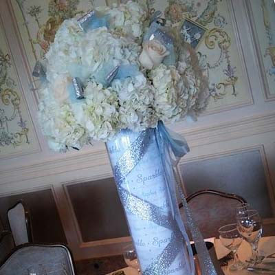 Personalized Cylinder Vase Centerpiece w/ Hydrangea & Roses Rental