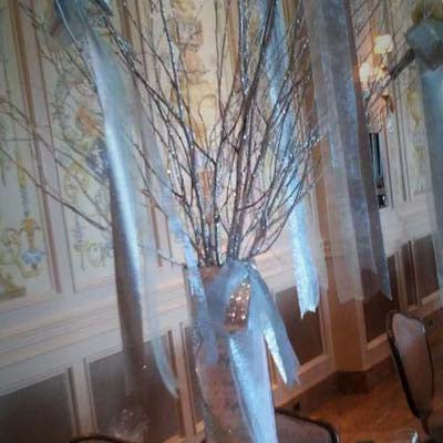 Personalized Cylinder Vase Centerpiece w/ Branches Rental