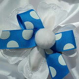 CRF Quadrifogolio Pom Pom with Polka Dot Grosgrain Ribbon Bow
