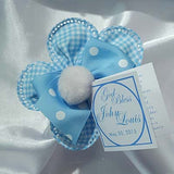CRF Margherita Gingham Pom Pom with Polka Dot Grosgrain Ribbon Bow + Personalized Card