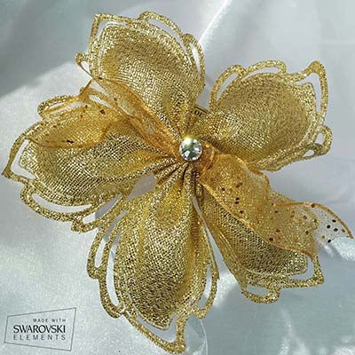 CRF Cuore Metallic Crystal with Organza Ribbon Bow