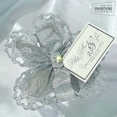 CRF Cuore Metallic Crystal with Organza Ribbon Bow + Personalized Card