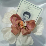 CRF Quadrifogolio Porcelain Flower with Victorian Ribbon Bow + Personalized Photo Card
