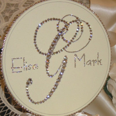 "Cake Topper Swarovski Plaque - 8"" Round Personalized Monogram w/ Names"