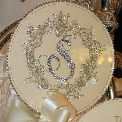 "Cake Topper Swarovski Plaque - 8"" Round Crest Personalized Initial"