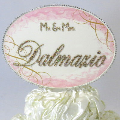 Cake Topper Swarovski Plaque - Oval Horizontal Personalized Mr. & Mrs.