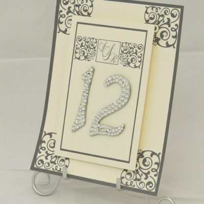 Dalmazio Design Table Sign w/ Easel - 2 Layer Floating Swarovski/Flourish