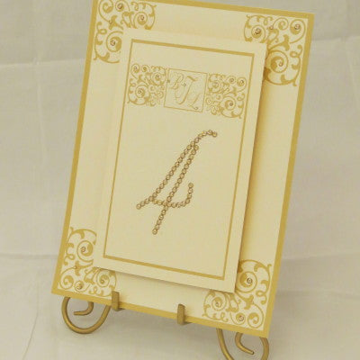 Dalmazio Design Table Sign w/ Easel - 2 Layer Floating Swarovski/ Flourish Personalized