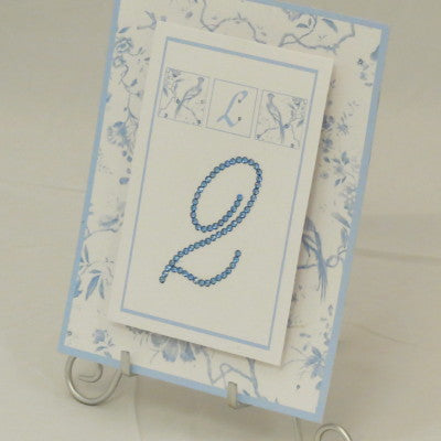 Table Sign w/ Easel - Two Layer Floating Swarovski/Toile