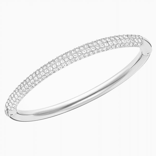 Swarovski Stone Bangle; White; Rhodium Plated Dalmazio Design