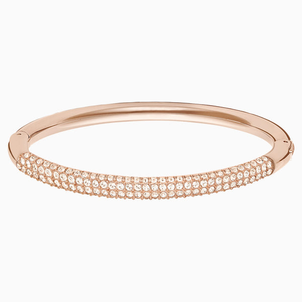 Swarovski Stone Bangle; White; Rose-Gold Tone Plated Dalmazio Design